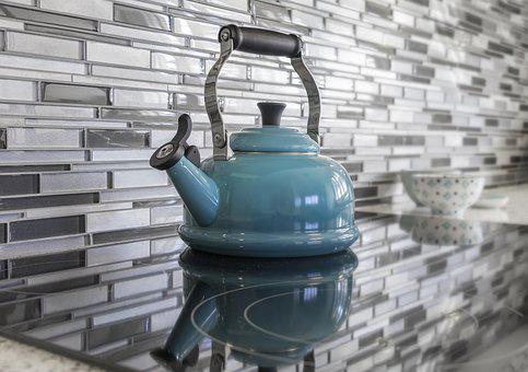 Kitchen, Teapot, Blue, Glass Tile, Staging, Real Estate