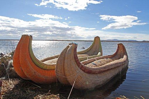 Peru, Lake-titicaca, Canoes