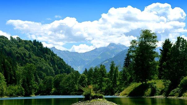 Waldsee, Pond, Mountains, Forest Glade, Iller, Sidearm