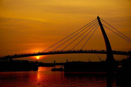 Sunset, Red, Bridge, People, Orange, Sky, Sun, Nature