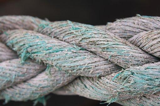 Rope, Texture, Braided, Rough, Green, Blue, Maritime