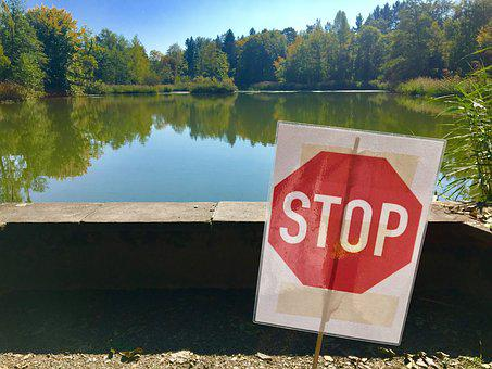 Stop, Shield, Rumensee, Zurich, Canton, Summer, Pond