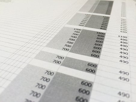Table, Number, Numbers, Excel, Price List, Line, Column