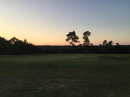 Golf Course, Evening Sun, Fairway