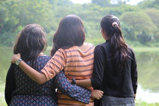 Girls, Women, Background, Lake, Pond, Water, River