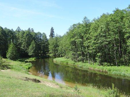 Black Hangcha, River, Masuria, Water, Landscape, Nature
