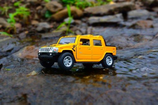 Miniature, Car, Yellow, Hummer, Off-road, Terrain