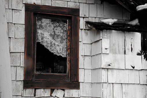 Wooden Window, Building, Old, Wood, Lace Curtain