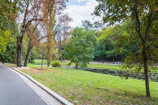 Park, Lamppost, Time, Nature, Craiova, Romania, Lake