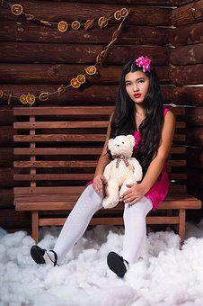 Beautiful Girl, Girl With Toy, Photo, Beauty