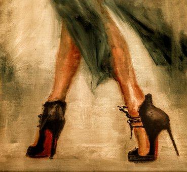 Art, Painting, Lady, Shoes, High, Heels, Elegant