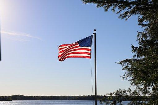 American Flag, Lake, Flag, American, Usa