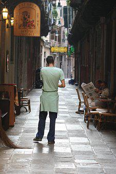 Italy, Venezia, Street, Restaurant, Make Phone Calls