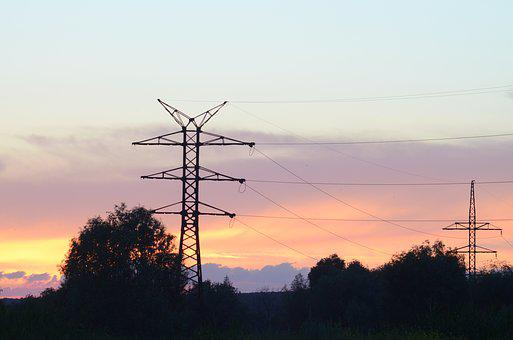 Tower, Wire, Electricity, Silhouette, Sky, Sunset