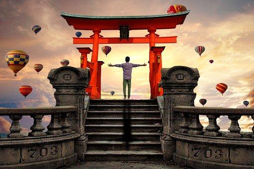 Manipulation, Balloon, Shrine Gate, Yellow Cloud