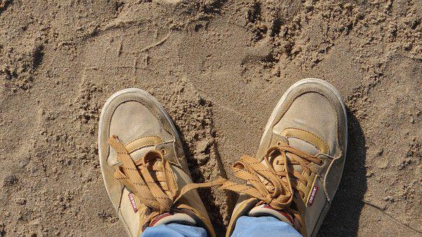 Sand, Sneakers, Shoe Laces, Tracks, Beach