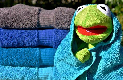 Kermit, Towels, Blue, Turquoise, Grey, Colorful