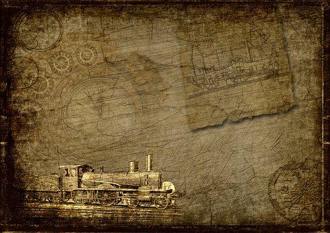 Locomotive, Clock, Steampunk, Industry, Scrapbooking