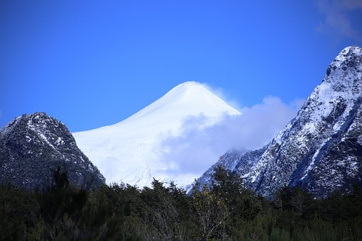 Volcano, Clouds, Geology, Snow, Blue Sky