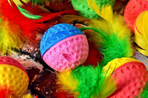 Colorful, Color, Foam Rubber, Balls, Feather