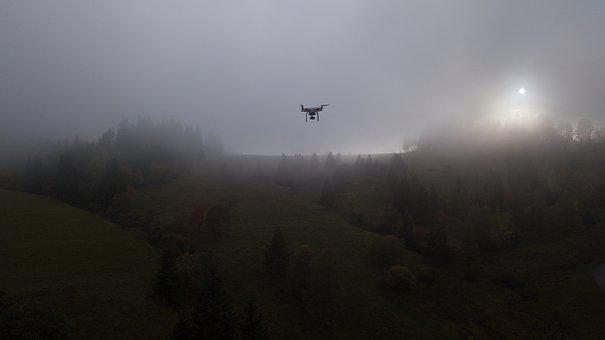 Dji, Phantom, Drone, Copter, In Air, Flying, Dark, Fog