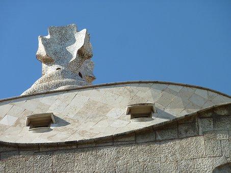 Barcelona, Sky, Blue, Gaudí, Architecture, Heritage