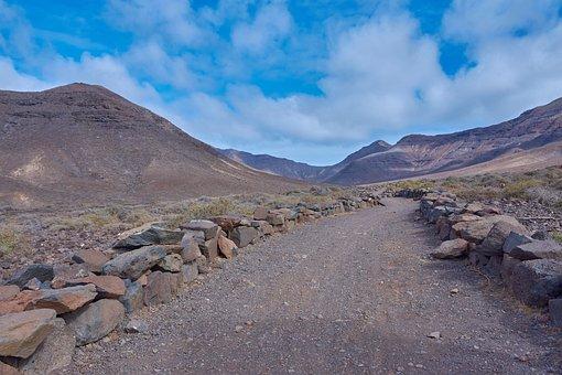 Away, Desert, Karg, Stones, Sky, Wölken, Blue, Tenerife