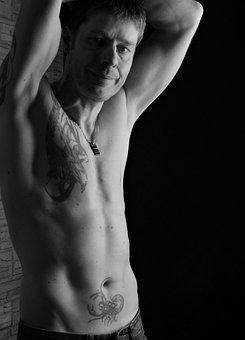 Man, Naked, Tattooed, Sexy, Muscular, Male, Body
