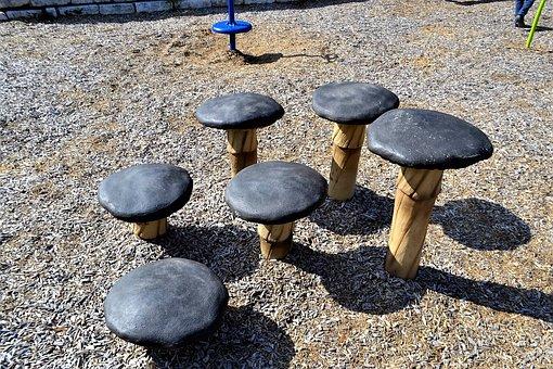 Mushroom Seats, Mushrooms, Park, Children, Playground