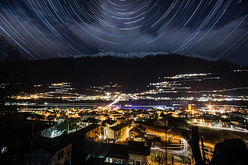 Star Trails, Stars, Mountains, Alps, Italy, Night