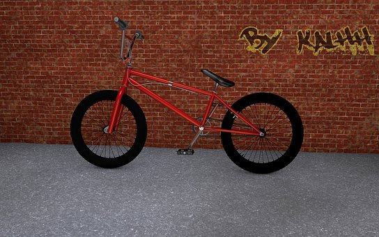 Bike, Wall, Graffiti, Lean On, Turned Off, Park, Away