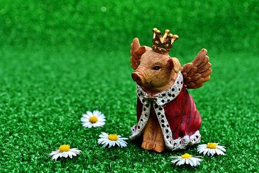 Guardian Angel, Piglet, Figure, Crown, Luck, Lucky Pig