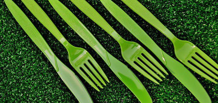 Cutlery, One Way, Green, Plastic, Fork, Knife, Picnic