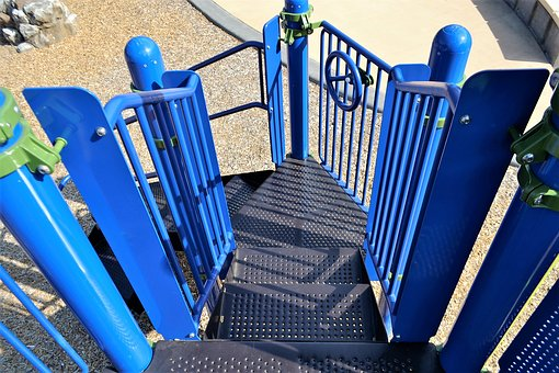 Playground Steps, Blue Stairs, Metal, Steel, Playground