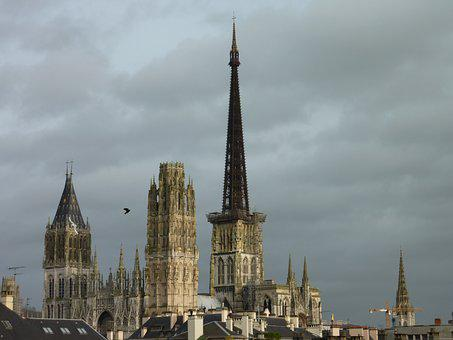 Rouen, Cathedral, Sky, Grey, France, Building, Normandy