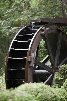 Watermill, Water, Scenery, Landscape, Break, Flow