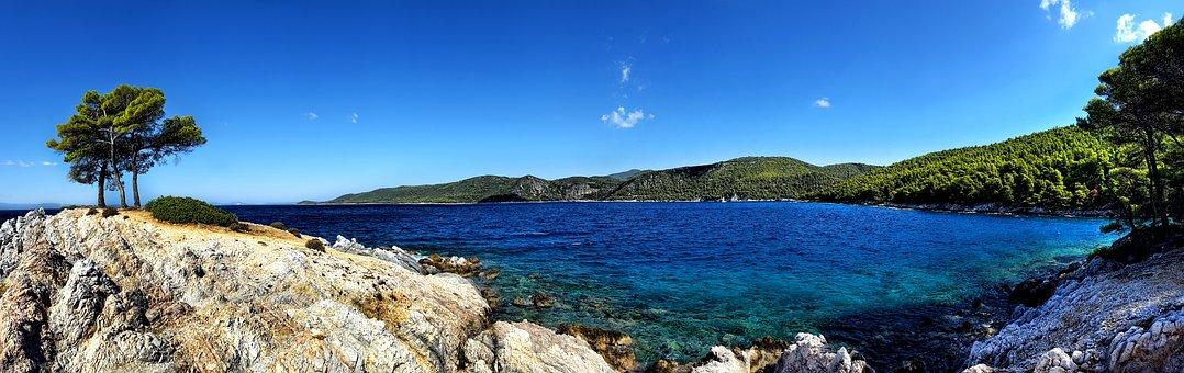 Coast, Beach, Sea, Mediterranean, Greece, Rock, Stones