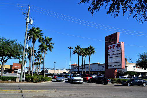 Shopping Mall, Houston Texas, Blue Sky, Trees, H, E, B