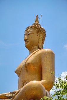 Buddha Statue, Wat Phikun Thong, Religion, Sing Buri