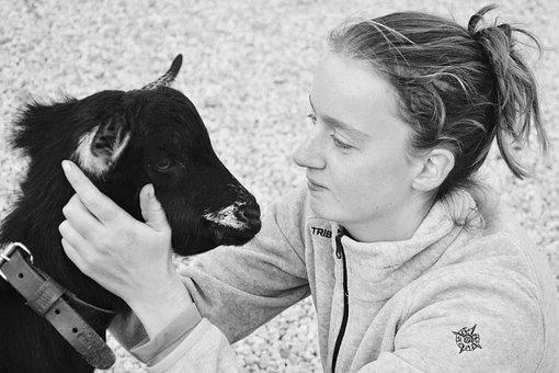 Girl, Goat, Complicity, Kiss, Hug, Domestic Animal
