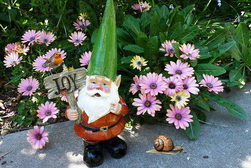 Gnome, In Garden, With Robin