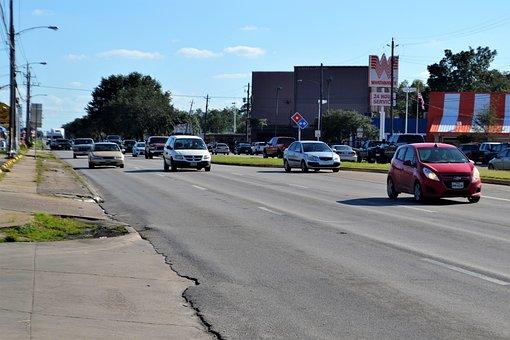 Traffic, Incoming, Houston Texas, Road, Cars, Chevy