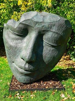 The Face, Sculpture, Bronze, Face, Kew Gardens, London