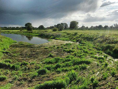 Landscape, Elbe, River, Nature, Bank, Elbwiesen, Meadow