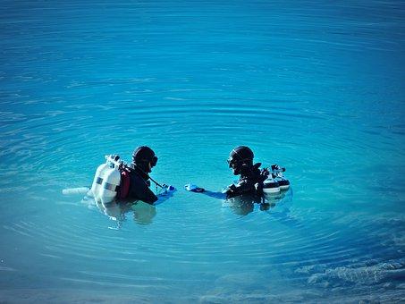 Divers, Lake, Water, Sport, Diving, Nature, Equipment