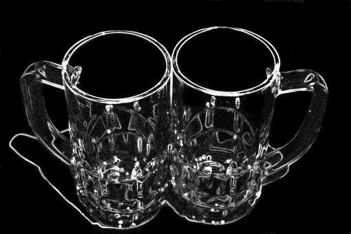 Beer Mugs, Pair, Glass Tankard, Oktoberfest
