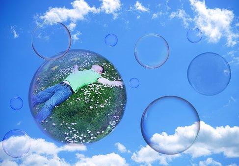 Soap Bubbles, Man, Clouded Sky, Person, Meadow, Float