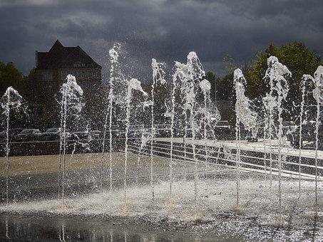 Reutlingen, Fountain, Water, Flow, Water Feature, Clear