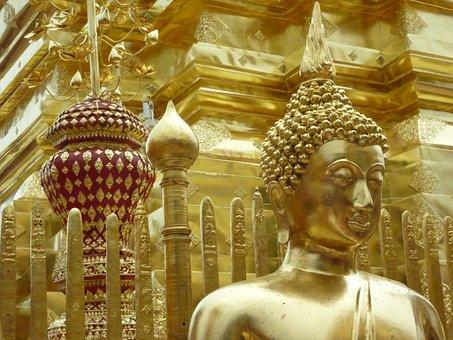 Thailand, Buddhist, Golden, Stupa