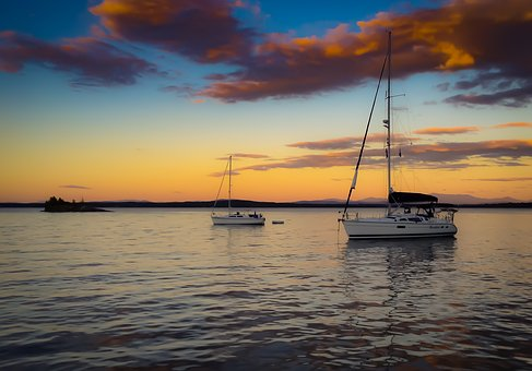 Sailboats, Sunset, Boat, Peaceful, Water, Calm, Reverie